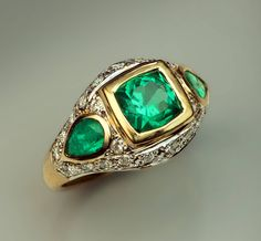 Retro Emerald Diamond Ring | From a unique collection of vintage three-stone rings at https://www.1stdibs.com/jewelry/rings/three-stone-rings/