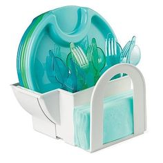 Cutlery Caddy Grand Sales: The Pampered Chef Outdoor Paper Plate/napkin/utensil Caddy Picnic Plates, Party Plates, Pampered Chef Outlet, Cutlery Caddy, Silverware Holder, Paper Plate Holders, Buy All The Things, Bbq Tools, Plastic Plates