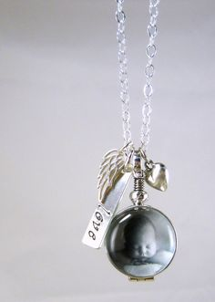 Glass Locket Rememberance Jewelry New Mom by YouCanQuoteMeOnThat, $94.00