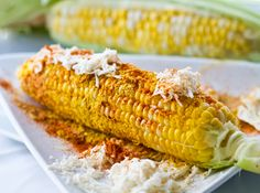 Mexican Corn. Grill. Mayo, grated parm cheese and al little lime. Spread the love!