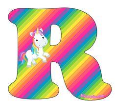 Letras Unicornios Abecedario para Imprimir Gratis | Mi Barquito Rainbow Unicorn Party, Unicorn Birthday, Banner Letters, Letters And Numbers, Alphabet Style, Real Unicorn, Birthday Letters, Unicorns And Mermaids, String Art