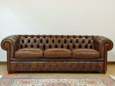 Connor 3 Seater Sofa, Vintage Brown Premium Leather | Vintage ...