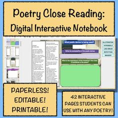 Going paperless? This notebook is packed with poems for students to analyze and interpret. Not paperless? There's a printable version, too!