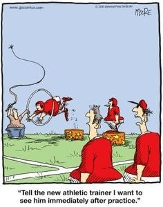 CartoonStock - 'tell the new athletic trainer I want to see him immediately after practice. Workout Humor, Gym Workouts, Exercise Humor, Sports Humor, Football Humor, Baseball Memes, Soccer Humor, Funny Sports, Medicine Humor