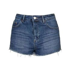 TopShop Petite Moto Raw Hem Mom Shorts found on Polyvore featuring shorts, high rise denim shorts, highwaist shorts, high-rise shorts, denim shorts and high-waisted denim shorts