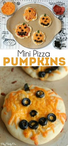 These mini pizza pumpkin decorating ideas would make such a fun Halloween party idea or family dinner idea. #CalOlivesHalloween #CleverGirls