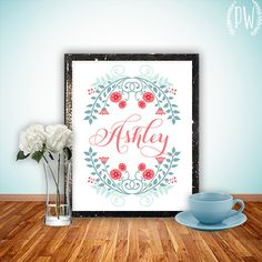 Floral Monogram Print Art, Printable name wall decor calligraphy, baby nursery children dorm, typography personalized name, digital via Etsy
