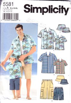 Boxer Short S-L//S-XL and Tie Sewing Pattern by 3 Hour in Sizes A Simplicity 8180 Men and Boys Shirt