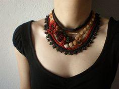 Macleaya Cordata ... Freeform Beaded Crochet Necklace - Brown Red Burgundy Beige Cream Green - Beadwork Statement Bib. $178.00, via Etsy.