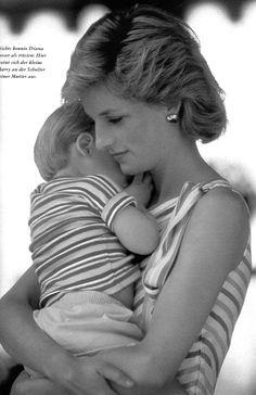 Adorable! The late Princess Di with son William.