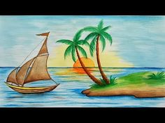 (6) Уроки рисования. Как нарисовать летний пляж акварелью How to Draw a Beach Scene - YouTube