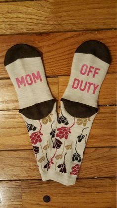 Mom Off Duty Womens Socks  What mom doesnt need a night off?! These funny socks will make a perfect Christmas gift! They're nice and warm which make them perfect for lounging around the house.