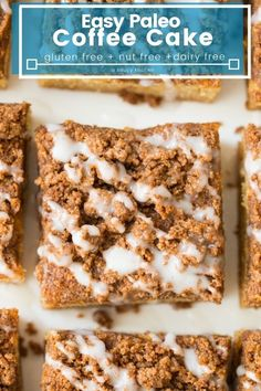 Paleo Coffee Cake Easy Paleo Coffee Cake with a coconut cake base and an irresistible cinnamon streusel topping. Enjoy with your favourite tea or cup of coffee! Paleo Sweets, Paleo Dessert, Healthy Desserts, Paleo Food, Paleo Diet, Paleo Baking, Keto, Healthy Cake, Veggie Food