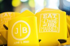 Yellow koozies for weddings Wedding 2015, Our Wedding, Dream Wedding, Yellow Weddings, Wedding Inspiration, Wedding Ideas, Tie The Knots, Happily Ever After, Wedding Planning