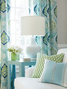 BLUE Green curtains blue ikat curtains THIBAUT curtains curtain panels light blue and white drapes lotus curtains flower l - Arredamento estivo Coastal Bedrooms, Coastal Living Rooms, My Living Room, Living Room Decor, Decor Room, Room Decorations, House Of Turquoise, Turquoise Room, Blue And Green Curtains