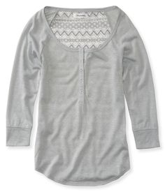 Sheer 3/4 Sleeve Lace Henley from Aeropostale