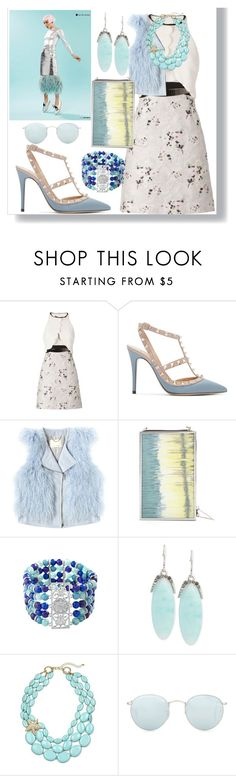 """""""Sky Flowers"""" by egordon2 ❤ liked on Polyvore featuring Giambattista Valli, Valentino, Rebecca Taylor, BCBGMAXAZRIA, Avenue, Kenneth Cole and Ray-Ban"""