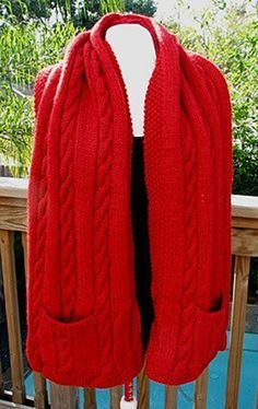 Free Knitting Pattern for Cabled Pocket Shawl