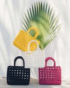 """Ivy Mini Bag Our hand-crocheted Ivy mini tote is a unique take on a traditional crochet bag—it's structured so it keeps its shape. In bright shades that say, """"Hello Summer! Crochet Tote, Crochet Dolls, Hand Crochet, Anniversary Getaways, 25th Anniversary, Loafer Mules, Outfit Maker, Hello Summer, Shopping Spree"""