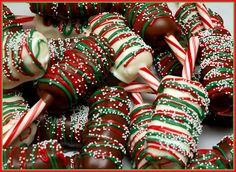 CHOCOLATE DIPPED MARSHMALLOWS ON CANDY CANES
