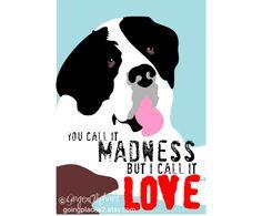 Saint Bernard Love Art Dog Print Wall Decor. $14.00, via Etsy.