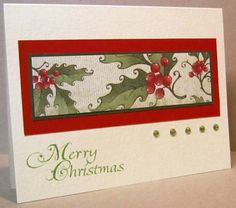 paper is CTMH - Colonial White, Cranberry, New England Ivy and Mistletoe. There is also two different types of textured Bazzill card stock. Some SU Very Vanilla has also been thrown into the mix. The sentiment is Impression Obsession Christmas Sentiments, stamped in SU Wild Wasabi. The focal element is highlighted with Pentel Sunburst gold Metallic Gel pen. The embellishments are TPC Studio Holly Jolly gems.