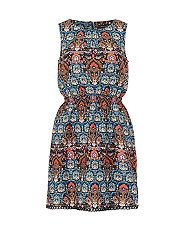 Blue Folk Print Crochet Hem Skater Dress    New Look
