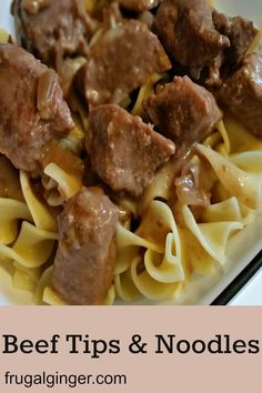 This is an easy and cheap slow cooker recipe that the whole family will love. Try this 4 ingredient meal for the crock pot, Beef Tips & Noodles. #slowcookerrecipes #dinnerideas #cheapmeal