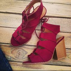 Trendy Must have Lace up burgundy booties Brand new Never been worn  Comes in original box No trades Many more sizes available Shoes Ankle Boots & Booties