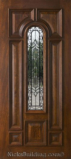 wood door with iron glass n525- iron classic <3