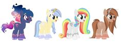 (from left to right) Galaxy Glimmer, Melody Lily, Glossy Rainbow and Milky Cocoa I adopted glossy rainbow I do not own this art ❤️