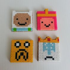 Adventure Time perler bead coasters by mthrasher138