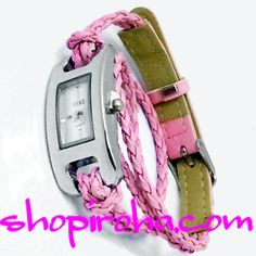 三つ編み・レザーベルト・2連ブレスレットのカラフル腕時計・ブレスウォッチ・桃色・ピンク shopiroha.com ジュエリー・アクセサリー・通販