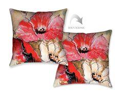 Triple Poppy Decorative Pillow
