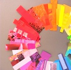 beautiful color wheel wreath made from recycled magazines; found at Partycraft Secrets