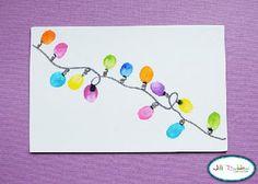 thumbprint christmas light card