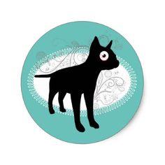#french bulldog silhouette big eye funny animal classic round sticker - #bulldog #puppy #bulldogs #dog #dogs #pet #pets