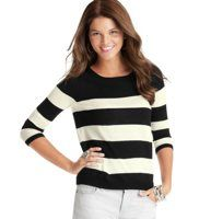 Striped 3/4 Sleeve Sweater - We love the charming girl-next-door vibe of this sporty yet feminine striped sweater. Scoop neck. 3/4 sleeves. Roll edge trim at neckline. Ribbed cuffs and hem.