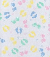 False Fabric Diapers: Snuggle Flannel Fabric Pastel Hands & Feet