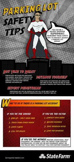 You can be a holiday shopping superhero. Remember these safety tips to prevent a parking lot mishap. Car Insurance Tips, Farm Insurance, Driving Safety, Driving Tips, Photo Search, Free Tips, Car Shop, Parking Lot