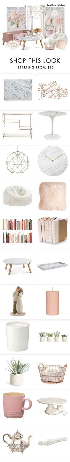 """blush + marble"" by donutsandtacos ❤ liked on Polyvore featuring interior, interiors, interior design, home, home decor, interior decorating, Menu, Dot & Bo, Pillow Decor and Decorative Leather Books"