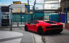 Lataa kuva Lamborghini Aventador S, 2017, Punainen Aventador, urheiluauto, takaa katsottuna, Lamborghini