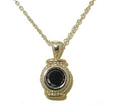 TWO TONE JET BLACK CUBIC ZIRCONIA PENDANT WITH 18 KARAT GOLD & ADJUSTABLE CHAIN HIGH QUALITY!!!