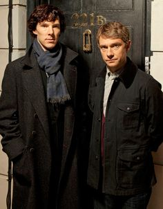"Sherlock Holmes and John Watson in ""Sherlock"".  Thank you BBC!  I catch it on Netflix."
