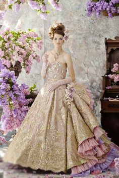 Gold Ivory Wedding Dress