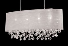 New 4 Lamp Chandelier Oval Drum Shade Crystal Chandelier Ceiling ...