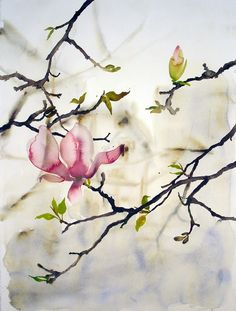 I love how empty this is, with the exception of the 1 perfect flower and 1 bud. Nice balance of color and empty space.   Magnolia, Ellen Little