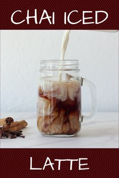 Make this homemade Iced Chai Tea Latte for a fraction of the cost than a coffee shop drink. It is quick and easy to make (especially with instant tea crystals) and you even have the option to make a healthier chai with milk and sweetener of your choice! Chia Tea Latte Recipe, Iced Chai Tea Latte, Te Chai, Iced Coffee, Chai Coffee Recipe, Iced Chai Recipe, Starbucks Chai Tea Latte Recipe, Milk Tea Recipes, Iced Tea Recipes