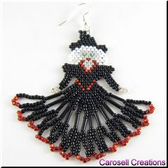 Halloween Witch Seed Bead Holiday Earrings by carosell on Etsy, $24.00