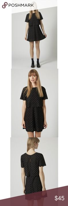 TOPSHOP Daisy Scallop Overlay Dress Jersey short sleeve overlay dress in daisy print with scallop hem. Style it with heels to take it from day to night. Length 86cm. 100% Polyester. Machine washable. Color: black.   Like new  Open to offers Topshop Dresses Mini